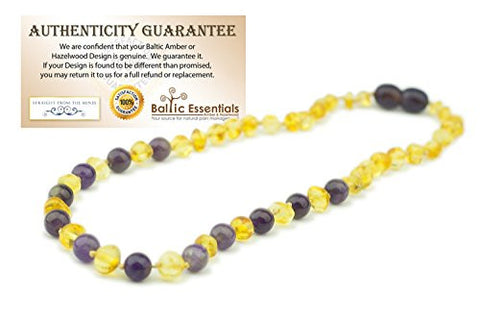 Baltic Amber Teething Necklace for Babies Yellow Lemon & Purple Amethyst (sadness) - Baby Toddlers Polished Drooling Teething Pain Twist-in Screw Clasp! (Lemon Amethyst) sad anger