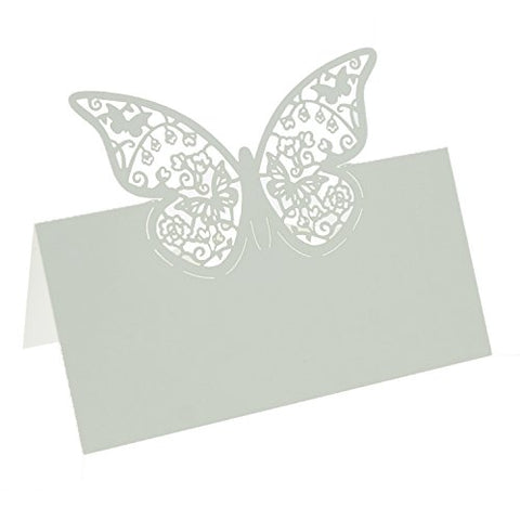 UNIQLED Laser Cut Butterfly Paper Place Table Numbers Guest Seating Name Cards for Wedding Party Decoration (White)