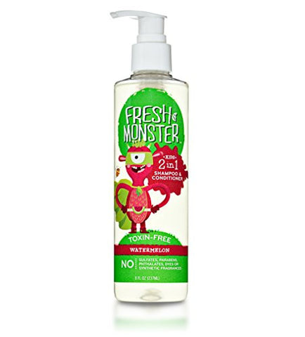 Fresh Monster 2-in-1 Kids Shampoo & Conditioner (Watermelon, 8 oz) - Toxin-Free - Sulfate-Free - Paraben-Free - Natural Botanical Extracts - Hypoallergenic - Cruelty-Free - Natural Kids Shampoo