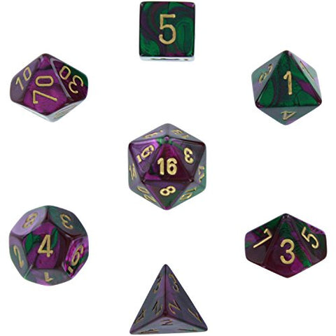 Polyhedral 7-Die Gemini Dice Set - Green & Purple with Gold - NEW COLOR!!! CHX-26434