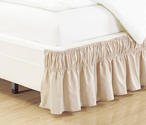 Wrap Around 15  inch fall LIGHT BEIGE Ruffled Elastic Solid Bed Skirt Fits All QUEEN, KING and CAL KING size bedding High Thread Count Microfiber Dust Ruffle, Soft & Wrinkle Free.