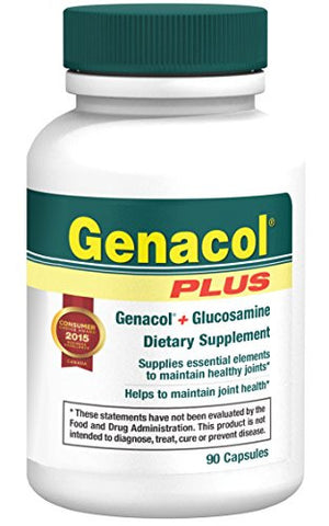 Genacol PLUS, AminoLock® Collagen (400mg) + Glucosamine(500mg), Joint Health Supplement | Non-GMO (90 capsules)