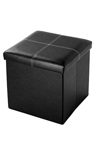 Faux, Folding, Wooden, Leather, Storage, Cube / Ottoman With Contrast Stitch Design 15 Inches, Black