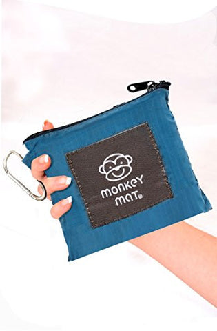 MEGA MONKEY MAT Portable Indoor/Outdoor 5'x8' Water/Sand Repellent Blanket with Corner Weights & Loops in Compact Pouch for Beach, Picnic, Baby, Camping, Travel, Concert