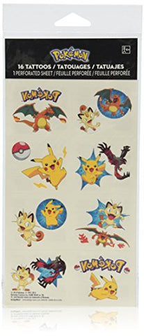 Amscan Cute Pikachu and Friends Birthday Party Temporary Tattoos Favor (1 Sheet)-8 Tattoos, 2 X 1 3/4