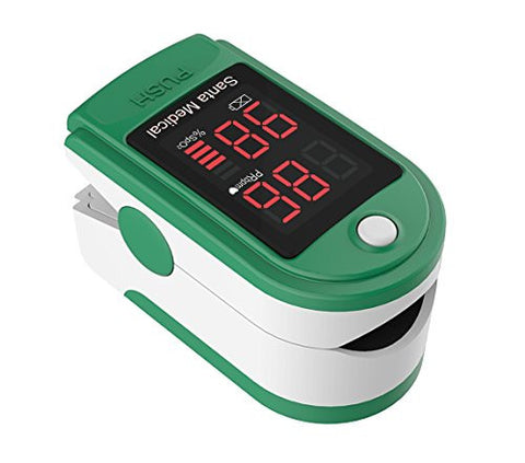 Santamedical Generation 2 SM-150 Fingertip Pulse Oximeter Oximetry Blood Oxygen Saturation Monitor with carrying case, batteries and lanyard - Green