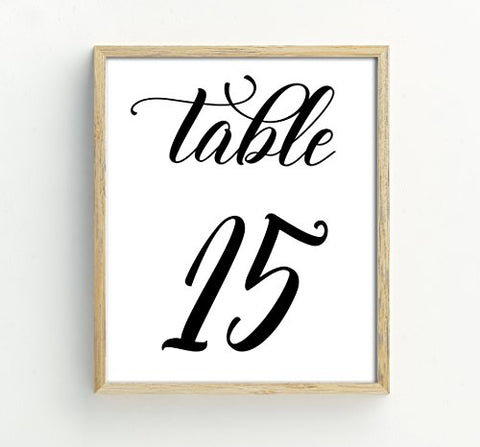 Darling Souvenir Calligraphy 1-30 Table Numbers Wedding Reception Dcor Table Cards (4x6 Inches)