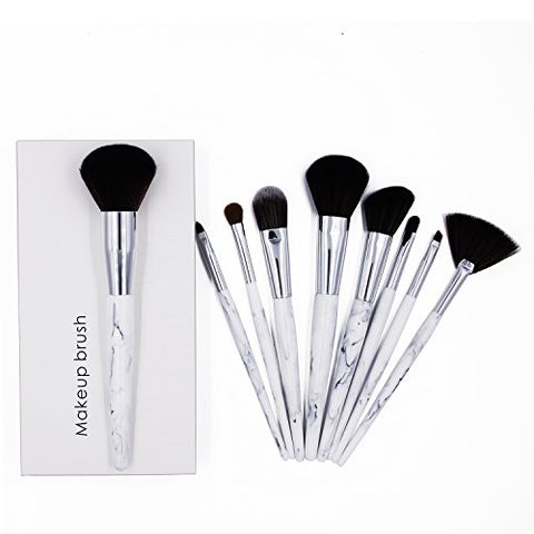Ksun Professional 9 Piece Resin Marble Texture handle Deluxe Foundation Makeup Brush Set Premium Synthetic Kabuki Foundation Face Powder Blush Eyeshadow Brushes Makeup Cosmetics Brush Kit(White)