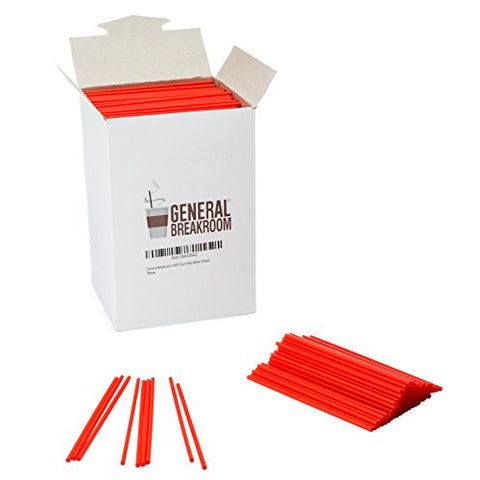General Breakroom 2000-count, 5 1/2  Coffee and Cocktail Drink Stirrer Straws, Red