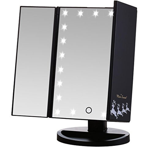 Miss Sweet Lighted Trifold Mirror Tabletop Mirror for Cosmetic Beauty Makeup (ABlack1)