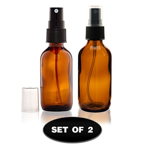 High Quality 2 Ounce Glass Amber Essential Oil Bottles with Black Fine Mist Sprayer for Aromatherapy & Cosmetic Sprays