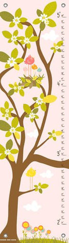Oopsy Daisy in The Branches Finny and Zook Growth Charts, Pastel Pink, 12 x 42