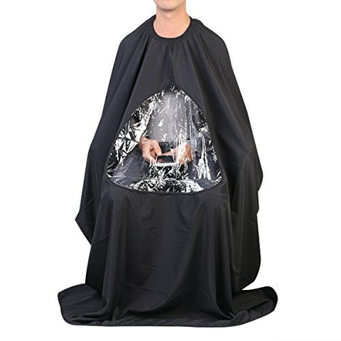 ULTNICE Salon Home Barbers Hairdressing Cape Gown with Viewing Window for Hair Cutting 6357(Black)