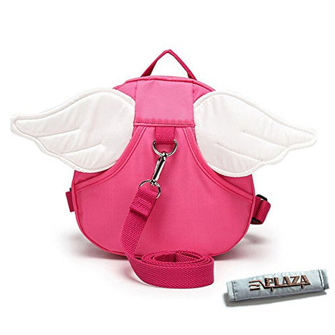 EPLAZA Angle with Wings Baby Walking Safety Harness Reins Toddler Child Strap Backpack Kid for 3-6 years old (rose red )
