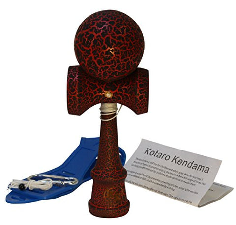 Kotaro Kendama Beech Hardwood Pro Kendama with Red and Black Crackle Finish Deluxe Pro Toy Catch Game with Extra String and Carrying Holster