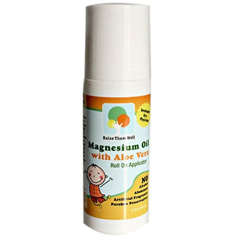 Kid Safe Magnesium Oil. Gentle blend of Magnesium Oil and Aloe Vera will not burn or itch. Easy to Use Roll-on Applicator. Great for Calming, Headaches, and Sleep.