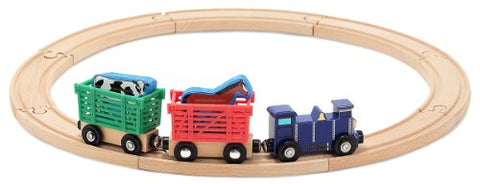 Melissa & Doug Farm Animal Wooden Train Set (12+ pcs)