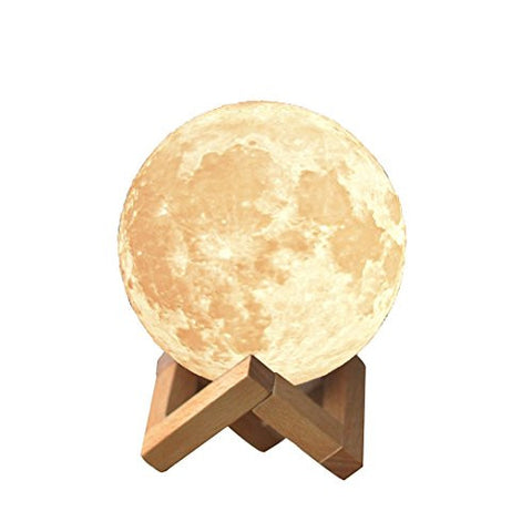 MSPARK Rechargeable 3D Printing Moon Lamp Touch Switch Luna Night Light Color And Brightness Adjustable With Wooden Mount 3.15IN