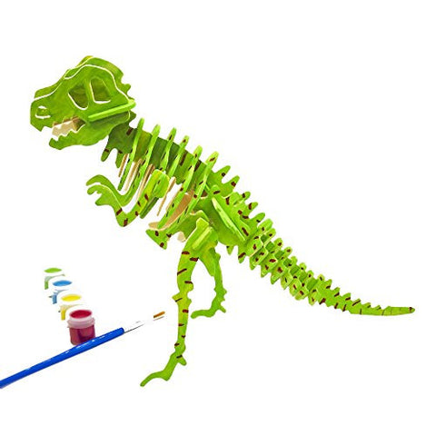 Miscy 3d Puzzle Arts Projects Craft Wood 3d Puzzles for Kids Ages 4-8 Assemble Paint DIY Animal Crafts T-Rex Dinosaurs