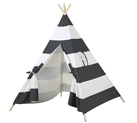 Steegic Kids Play Indian Teepee Tent - Black and White Stripes Four Poles One Window