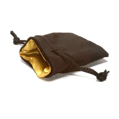 3.75X4 Black Velvet Dice Bag with Gold Satin Lining