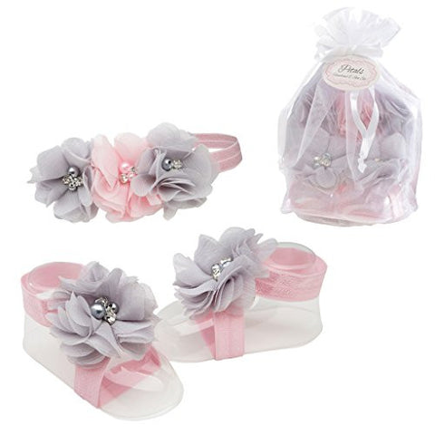 Petals Pink/Grey Baby Barefoot Sandal and Headband Gift Set with Flower Accents