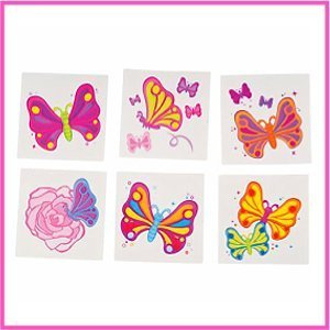 Rhode Island Novelty Butterfly Temporary Tattoos, 144-Piece