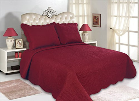 All for You 3pc Reversible Quilt Set, Bedspread, and Coverlet-burgundy color (FULL/QUEEN, BURGUNDY)-86  x 86