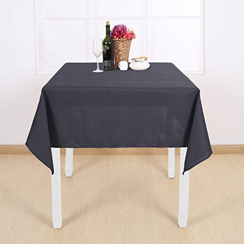 Deconovo Decorative Solid Table Cover Faux Linen Tablecloth Water Resistant Square Table Cloth for Dining Room 54W x 54L Inch Dark Grey