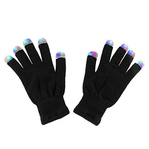 Black Knit Gloves LED Strobe Fingertips with 3 Colors for Light Shows, Raves, Concerts, Disco, Festival, Party Favors (1 Pair) by Super Z Outlet