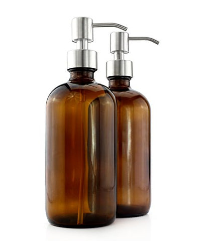 16-Ounce Amber Glass Boston Round Bottles w/ Stainless Steel Pumps ; Lotion & Soap Dispenser Brown Bottles for Aromatherapy, DIY, Home & Kitchen
