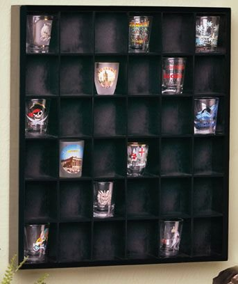 Wood Shot Glass Wall Curio Display case - Black