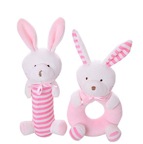 Wingingkids Rattle Set, Educational Sensory Activity Grasping Rattles, Soft Plush Baby Toys with Easy Grip Ring, First Year Baby for Boys and Girls, Plush Bunny, Pink