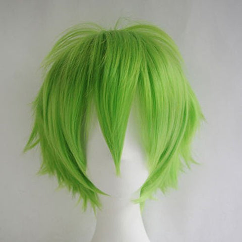 S-noilite Women Men Cosplay Hair Wig Short Straight Anime Party Fluffy Costume Full Wigs Green
