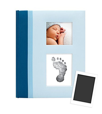 Pearhead Classic Baby Memory Book with an Included Clean-Touch Ink Pad to Create Baby's Handprint or Footprint, Blue