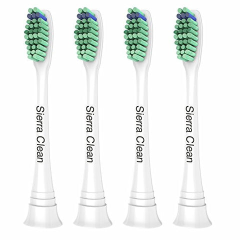 Sierra Clean Standard Replacement Toothbrush Heads for Philips Sonicare, 4 pack, fits Sonicare 2 Series Plaque Control, 3 Series Gum Health, DiamondClean, FlexCare Series, EasyClean and HealthyWhite