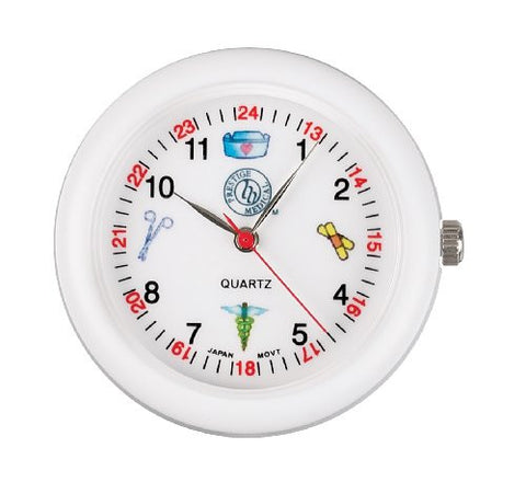 Prestige Medical Analog Stethoscope Watch with Medical Symbols, White