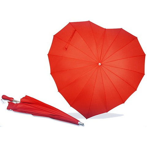 AoGV Forever Love Parasol Red Heart Shaped Girls Umbrella for Wedding and Photo Props