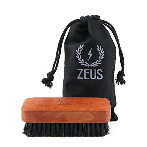 Zeus 100% Boar Bristle Beard Brush for Men - Medium Firm Bristles, Military-Style Palm Brush for Softer, Healthier and More Lustrous Beards - Made in Germany