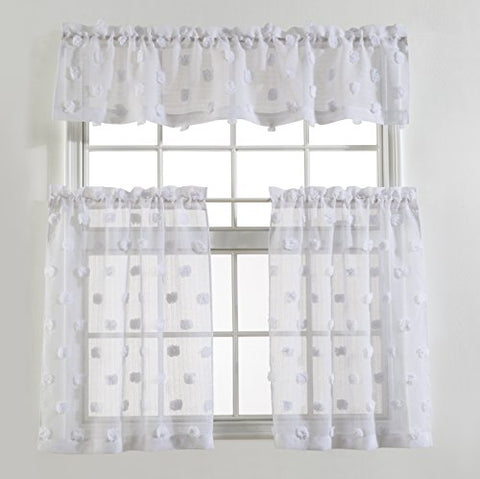 Mysky Home Pompon Design Fashion 3 Pieces Kitchen Jacquard Sheer Tier Curtains and Valance Set, White