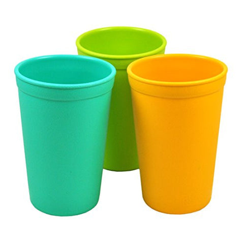 Re-Play Made in the USA 3pk Drinking Cups for Baby and Toddler - Aqua, Green, Sunny Yellow (Aqua Asst.)