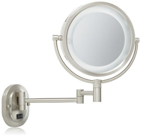 Jerdon HL65ND 8-Inch Lighted Direct Wire Wall Mount Mirror with 5x Magnification, Nickel Finish