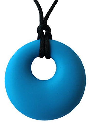 Teething Relief Silicone Pendant Necklace for Mothers - BPA Free, Non Toxic Gum Massager - Drooling Toddler - Happy Baby (Blue)
