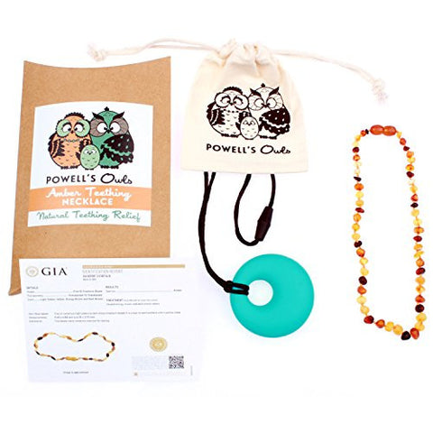 Baltic Amber Teething Necklace for Babies - Lab-Tested - Comes With Silicone Teething Necklace - Raw Unpolished Multicolor - 12.5 Inches