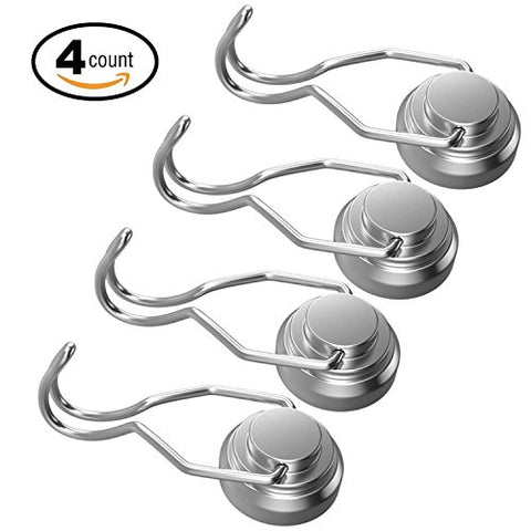 Ninth Five 30lb Swivel Swing Powerful Magnetic Hooks,Strong Heavy Duty Neodymium Magnet Hooks -Great for Your Refrigerator and Other Magnetic Surfaces