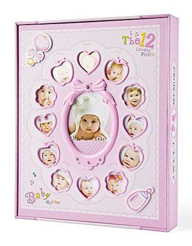FaCraft Baby Photo Album My First Year Holds 20 Pieces 6x8 lnch and 200 Pieces 4x6 lnch Photos Baby Journals Album with Storage Box (Pink)