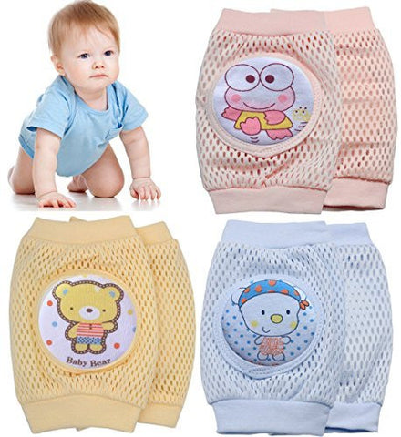 Pro1rise 3 Pairs Baby Crawling Knee Pads Super Breathable Adjustable Cartoon Kneepads Knee Elbow Pads Arm Pads Safety Protector For 9-24 Months Toddler Girls and Boys, 100% Satisfaction