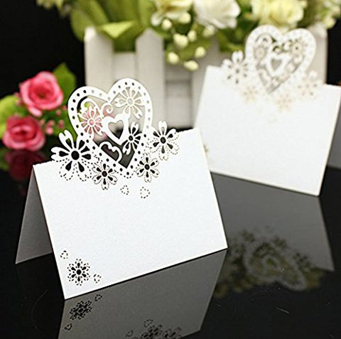 yueton Cut Heart-shaped Hollow Wedding Table Number Name Place Card Wedding Party Decoration