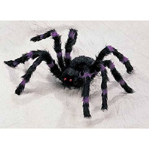 HALLOWEEN LARGE BLACK AND PURPLE FURRY SPIDER Poseable and Bendable Legs