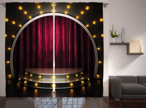 Restaurant Supplies Enjoying Theatre Arts Decor Stage Drapes Print Curtains for Bedroom Living Kids Ball Room Modern Talent Show Decorations Two Panels Set 108 X 90 Inches, Burgundy Yellow Black